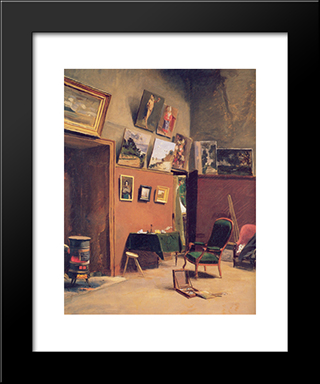 Studio In The Rue De Furstenberg: Modern Black Framed Art Print by Frederic Bazille