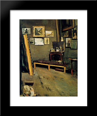 Studio Of The Rue Visconti: Modern Black Framed Art Print by Frederic Bazille