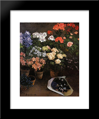 Study Of Flowers: Modern Black Framed Art Print by Frederic Bazille