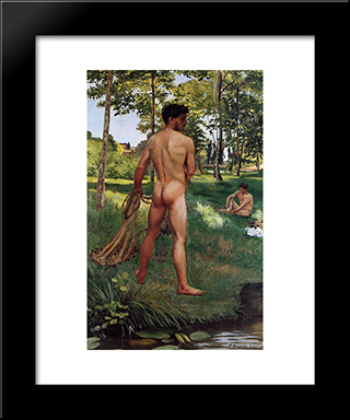 The Fisherman With A Net: Modern Black Framed Art Print by Frederic Bazille