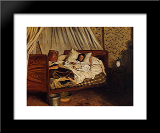 The Improvised Field-Hospital: Modern Black Framed Art Print by Frederic Bazille