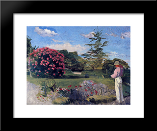 The Little Gardener: Modern Black Framed Art Print by Frederic Bazille