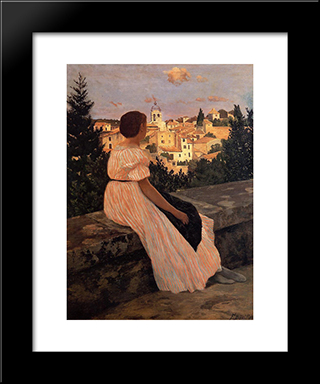 The Pink Dress: Modern Black Framed Art Print by Frederic Bazille