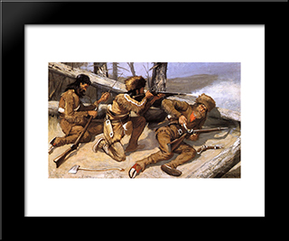A Brush With The Redskins: Modern Black Framed Art Print by Frederic Remington