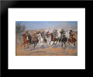 A Dash For The Timber: Modern Black Framed Art Print by Frederic Remington