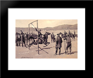 A Gander Pull: Modern Black Framed Art Print by Frederic Remington