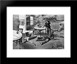 A Misdeal: Modern Black Framed Art Print by Frederic Remington