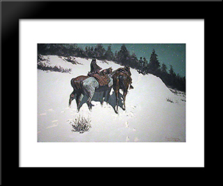 A Reconnaissance: Modern Black Framed Art Print by Frederic Remington