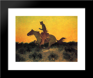Against The Sunset: Modern Black Framed Art Print by Frederic Remington