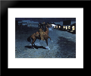 An Arguement With The Town Marshall: Modern Black Framed Art Print by Frederic Remington