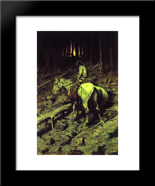 Apache Fire Signal: Modern Black Framed Art Print by Frederic Remington