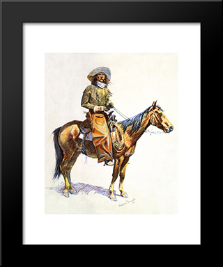Arizona Cow-Boy: Modern Black Framed Art Print by Frederic Remington