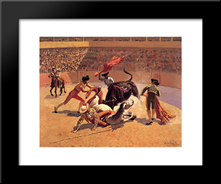 Bull Fight In Mexico: Modern Black Framed Art Print by Frederic Remington