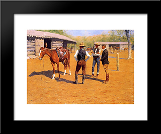 Buying Polo Ponies In The West: Modern Black Framed Art Print by Frederic Remington