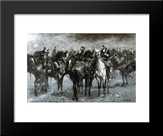 Cavalry In An Arizona Sandstorm: Modern Black Framed Art Print by Frederic Remington