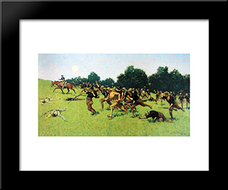 Charge Of The Rough Riders At San Juan Hill: Modern Black Framed Art Print by Frederic Remington