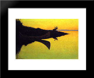 Coming To The Call: Modern Black Framed Art Print by Frederic Remington