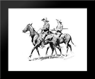 Cracker Cowboys Of Florida: Modern Black Framed Art Print by Frederic Remington