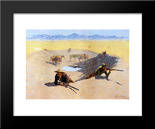Fight For The Water Hole: Modern Black Framed Art Print by Frederic Remington