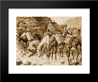 Mule Train Crossing The Sierras: Modern Black Framed Art Print by Frederic Remington