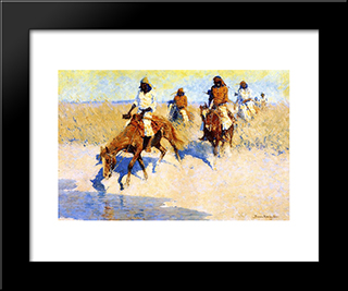 Pool In The Desert: Modern Black Framed Art Print by Frederic Remington