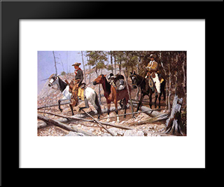 Prospecting For Cattle Range: Modern Black Framed Art Print by Frederic Remington