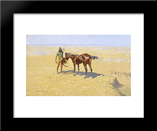 Ridden Down: Modern Black Framed Art Print by Frederic Remington