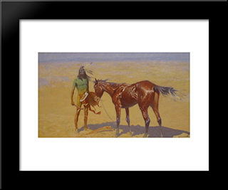 Ridden Down (Detail): Modern Black Framed Art Print by Frederic Remington