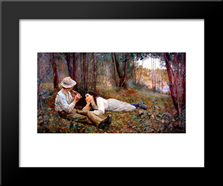 Bush Idyll: Modern Black Framed Art Print by Frederick McCubbin