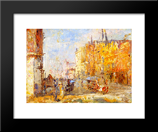 Collins Street: Modern Black Framed Art Print by Frederick McCubbin
