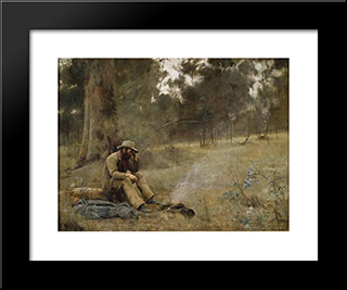 Down On His Luck: Modern Black Framed Art Print by Frederick McCubbin