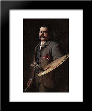 Self-Portrait: Modern Black Framed Art Print by Frederick McCubbin