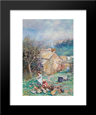 The Cottage Children (Rain And Sunshine): Modern Black Framed Art Print by Frederick McCubbin