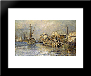 The Old Ship, Williamstown: Modern Black Framed Art Print by Frederick McCubbin