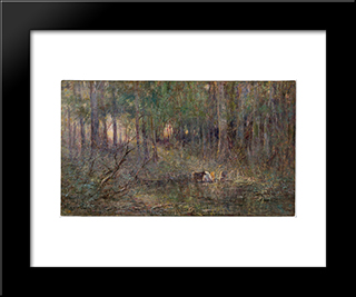 Violet And Gold: Modern Black Framed Art Print by Frederick McCubbin