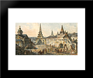 Church Of St. John The Baptist, Borovitskaya Tower And Stablings Prikaz (Department) In The Kremlin: Modern Black Framed Art Print by Fyodor Alekseyev