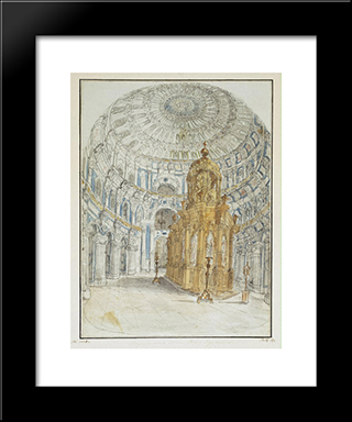 Holy Resurrection Cathedral Of New Jerusalem Monastery. Internal View.: Modern Black Framed Art Print by Fyodor Alekseyev