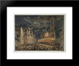 Illumination At Soboronaya Square On The Occasion Of The Coronation Of Alexander I: Modern Black Framed Art Print by Fyodor Alekseyev