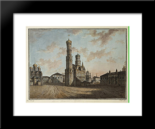 Ivan The Great Bell Tower And Chudov Monastery In The Kremlin: Modern Black Framed Art Print by Fyodor Alekseyev