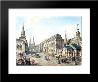 North Side Of Red Square: Modern Black Framed Art Print by Fyodor Alekseyev