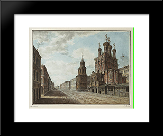November 7, 1824 In The Square In Front Of The Bolshoi Theatre: Modern Black Framed Art Print by Fyodor Alekseyev