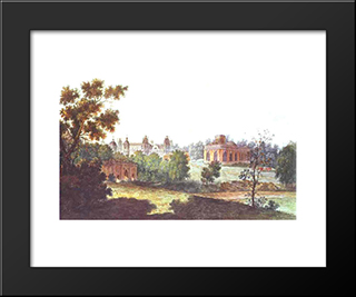 Palace In Tsaritsyno In The Vicinity Of Moscow: Modern Black Framed Art Print by Fyodor Alekseyev