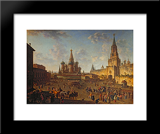 Red Square, Moscow: Modern Black Framed Art Print by Fyodor Alekseyev