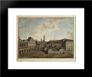 Terem And Church Of Our Savior In A Pine Forest In The Kremlin: Modern Black Framed Art Print by Fyodor Alekseyev