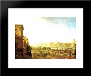 The Admiralty And The Winter Palace Viewed From The Military College: Modern Black Framed Art Print by Fyodor Alekseyev