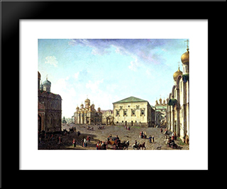 The Annunciation Cathedral And Faceted Palace: Modern Black Framed Art Print by Fyodor Alekseyev