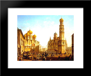 The Cathedral Square In The Moscow Kremlin: Modern Black Framed Art Print by Fyodor Alekseyev