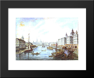 The Foundling Hospital In Moscow: Modern Black Framed Art Print by Fyodor Alekseyev