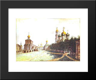 The Monastery Of Trinity And St. Sergius: Modern Black Framed Art Print by Fyodor Alekseyev