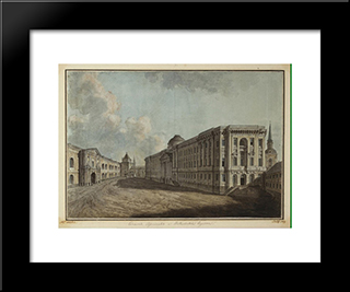 The Senate, Arsenal And Nikolskiye Gates In The Moscow Kremlin: Modern Black Framed Art Print by Fyodor Alekseyev